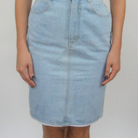 Vintage 90s High-Waisted Denim Pencil Skirt