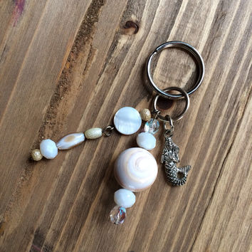 shell mermaid charm keychain OOAK