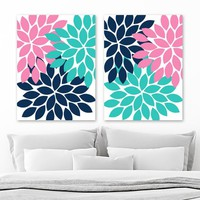 Navy Pink Turquoise Flower WALL Art, Flower Canvas or Prints, Navy Pink Turquoise Bathroom Decor, Teen Girl Bedroom Wall Decor, Set of 2