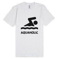 Aquaholic Swimmer-Unisex White T-Shirt