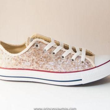 QIYIF champaign gold sequin canvas converse canvas low top sneakers shoes