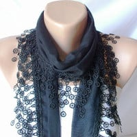 SALE % 20 - Was 15 Now 12-Black Cotton Scarf with Tassel Lace