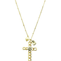 NECKLACE / TWO TONE / METAL CROSS CHARM / HAMMERED / TEXTURED / PEARL / LUCITE / LINK / CHAIN / 32 INCH LONG / 3 1/2 INCH DROP / NICKEL AND LEAD COMPLIANT