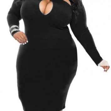 Black Plain Cut Out Bodycon Plus Size Club Prom Midi Dress