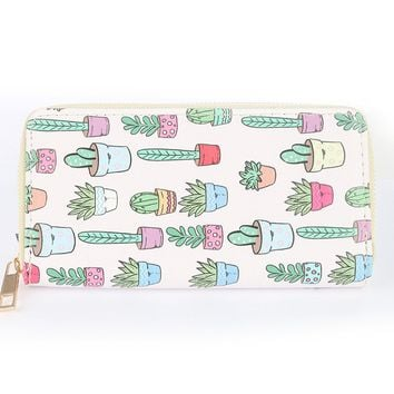 Potted Cactus Print Vinyl Wallet Multi Color