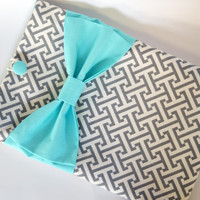 """Macbook Pro 13 Sleeve MAC Macbook 13"""" inch Laptop Computer Case Cover Grey & White Geometric Pattern  with Aqua Double Bow"""