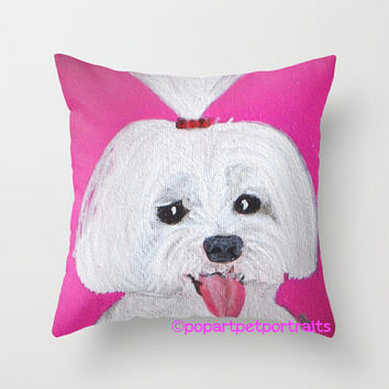 Chihuahua pillow cover  Pink throw pillow cover  dog pillow  french bulldog decorative pillow  Maltese sofa pillow  Accent pillow