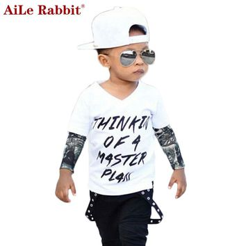 Boys 2 Piece Set Long Sleeves Tattoo Stitching Letter