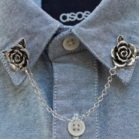 Silver Rose Flower Collar Clip Collar Chain