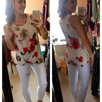 Force Of Nature Top - Red Floral