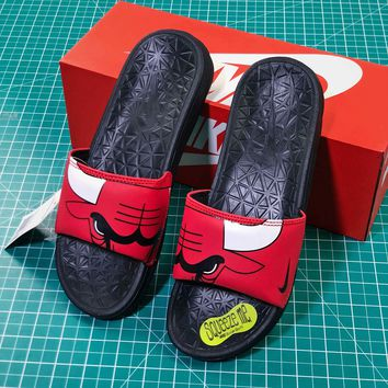 4c504414566aa Nba X Nike Benassi Solarsoft Slide Chicago Bulls Logo Sandals -