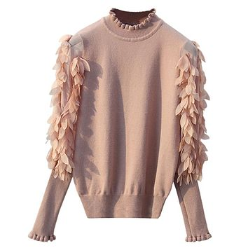 GIGIGO Ruffled Collar Knitted Women Sweater Spring Autumn Loose Jumper Fashion Flowers Sleeves Sweater and Pullover Femme Pull