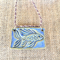 Ceramic Fish Necklace, Fish Necklace, Fish Pendant, Hemp Necklace, Hemp Jewelry, Ceramic Jewelry, Boho Jewelry