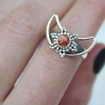 Crescent Sunstone Ring