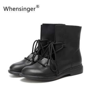 Whensinger 2016 Women Shoes Spring Female Patent Leather Fashion Boots Solid Lace-Up Handmade Vintage Elegant 7889