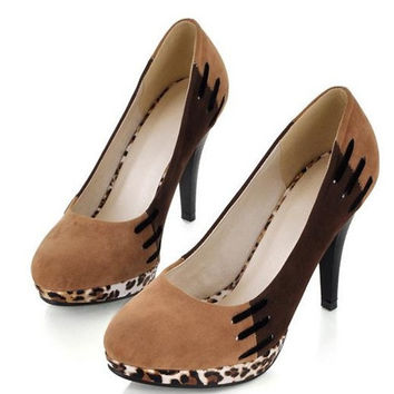 40 - 43 Zombie Stitched High Heels Shoes Women Platform Leopard Pumps Office Work Shoes Alternative Measures