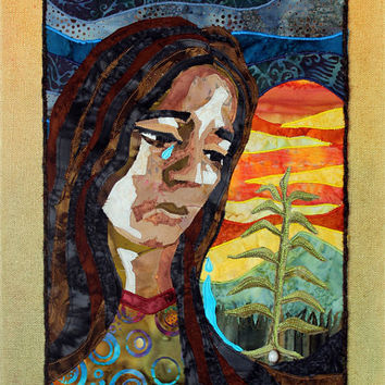 Native American Trail of Tears art quilt on canvas