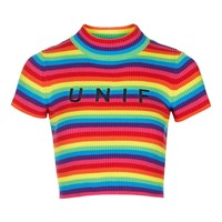 Logo Rainbow Tee by UNIF | Topshop