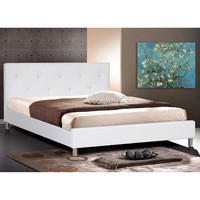 Baxton Studio Barbara Modern Full Bed Frame with Crystal Button Tufting