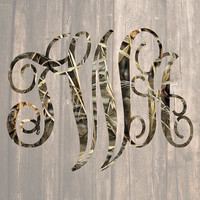 Camo Monogram Decal | Country Monogram | Hunting Monogram | RealTree Camo