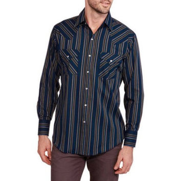Plains Men's Long Sleeve Easy Care Western Shirt with Snap Pockets