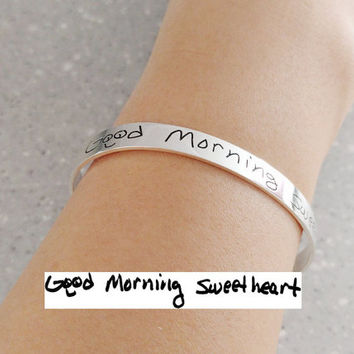 Custom Handwriting Bracelet,Handwritten Bracelet,Silver Signature Open Cuff Bangle,Memorial Handwriting Bracelet,Handwritten Bangle