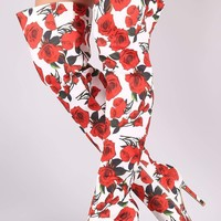 Rosette Print Pointy Toe Over-The-Knee Boots