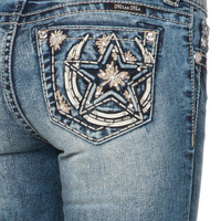 Miss Me Puffy Horseshoe Star Relaxed Boot Cut Jean