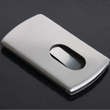 Metal Vogue Thumb Slide Out Stainless Steel Pocket Business ID Credit Card Holder Case Men Office Supplies