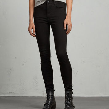 ALLSAINTS CA: Womens Stilt High Waisted Jeans (jet_black)