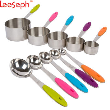 Stainless Steel Measuring Cups and Spoons Stackable Set, 10 Pieces. Professional Metal Cookware Tools to Measure Liquid