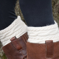 Buy 2 get 1 FREE Knee High Boot Socks Knit Boot Cuffs Cream Cable Knit Wool womens Boot Socks