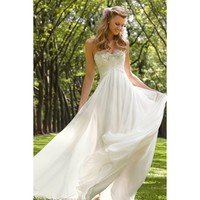 Alluring Strapless A-line Chiffon Full Length Wedding Dress