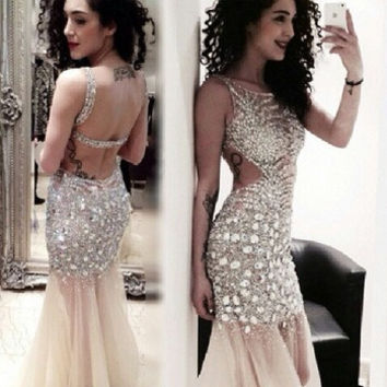 Custom Made Crystal Prom Dress Sheer Evening Gown Long Open Back Sexy Wedding Party Dress Vestidos De Gala Longo