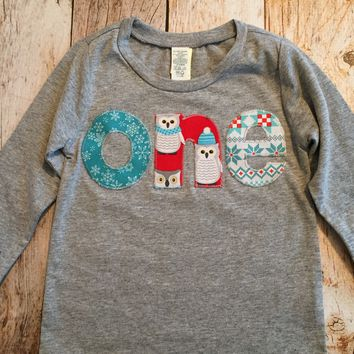 Owl snowflake winter Christmas holiday Aqua red birthday shirt one in turquoise teal blue boys 1st Birthday Shirt boys first