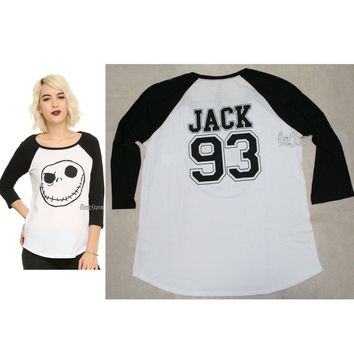 Licensed cool DisneyThe Nightmare Before Christmas Jack Skellington 93 Raglan Baseball Tee NWT