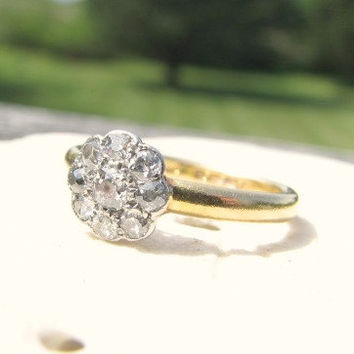 Antique Diamond Engagement Ring, Old Mine Cut Daisy Ring, 22K Gold, Hallmarked 1869, Antique Box, Victorian Era