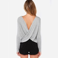 Sexy Backless Ruffle T-shirts Slim Tops Bottoming Shirt [6032475393]