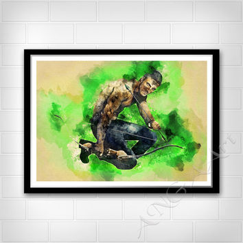 Oliver Queen, Green Arrow, The Arrow, Instant download, Serial movie, Digital Print, Room decor, Wall print, Poster, Watercolor art, Prints