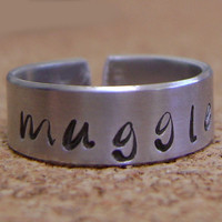 Harry Potter Inspired MUGGLE Hand Stamped Ring