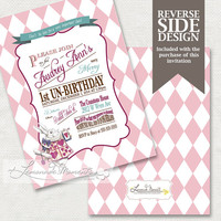 Alice in Wonderland Birthday Invitation / Mad Hatter Tea Party - Printable Birthday Party Invitation - Pink