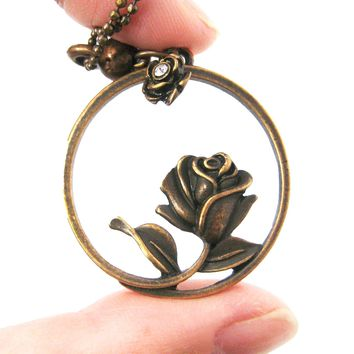 Beauty and the Beast Inspired Rose Shaped Pendant Necklace in Bronze