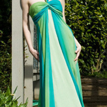 Aqua & Green Chiffon Halter Style Sleeveless by OneKindCouture