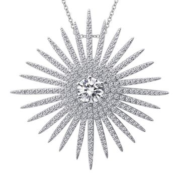 Lafonn Pave Glam Sterling Silver Platinum Plated Lassire Simulated Diamond Necklace (3.52 CTTW, 18IN)