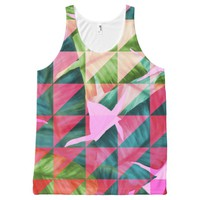 Abstract Hot Pink Banana Leaves Design All-Over-Print Tank Top