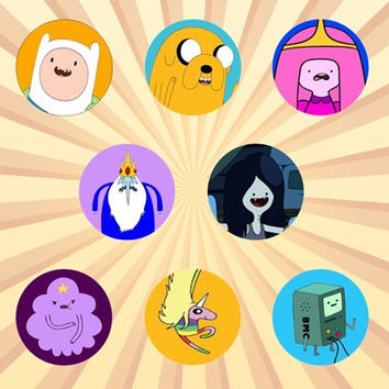Adventure Time with Finn and Jake Set of 8 - 1 Inch Pinback Buttons or Magnets jake the dog, finn the human, bmo, lumpy space princess, cute
