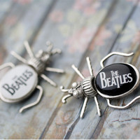The Beatles - The Beatles Brooch - music - musical jewelry - black and white, grey, nature jewelry - beetle, woodland, metal - Free shippin