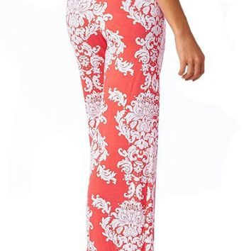 Orange Floral Patterned Palazzo Pants