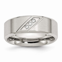 Men's Stainless Steel Polished and Brushed CZ 8mm Beveled Edge Wedding Band Ring: RingSize: 8