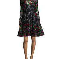 Elie Saab Long-Sleeve Embroidered Guipure Short Dress, Multicolor
